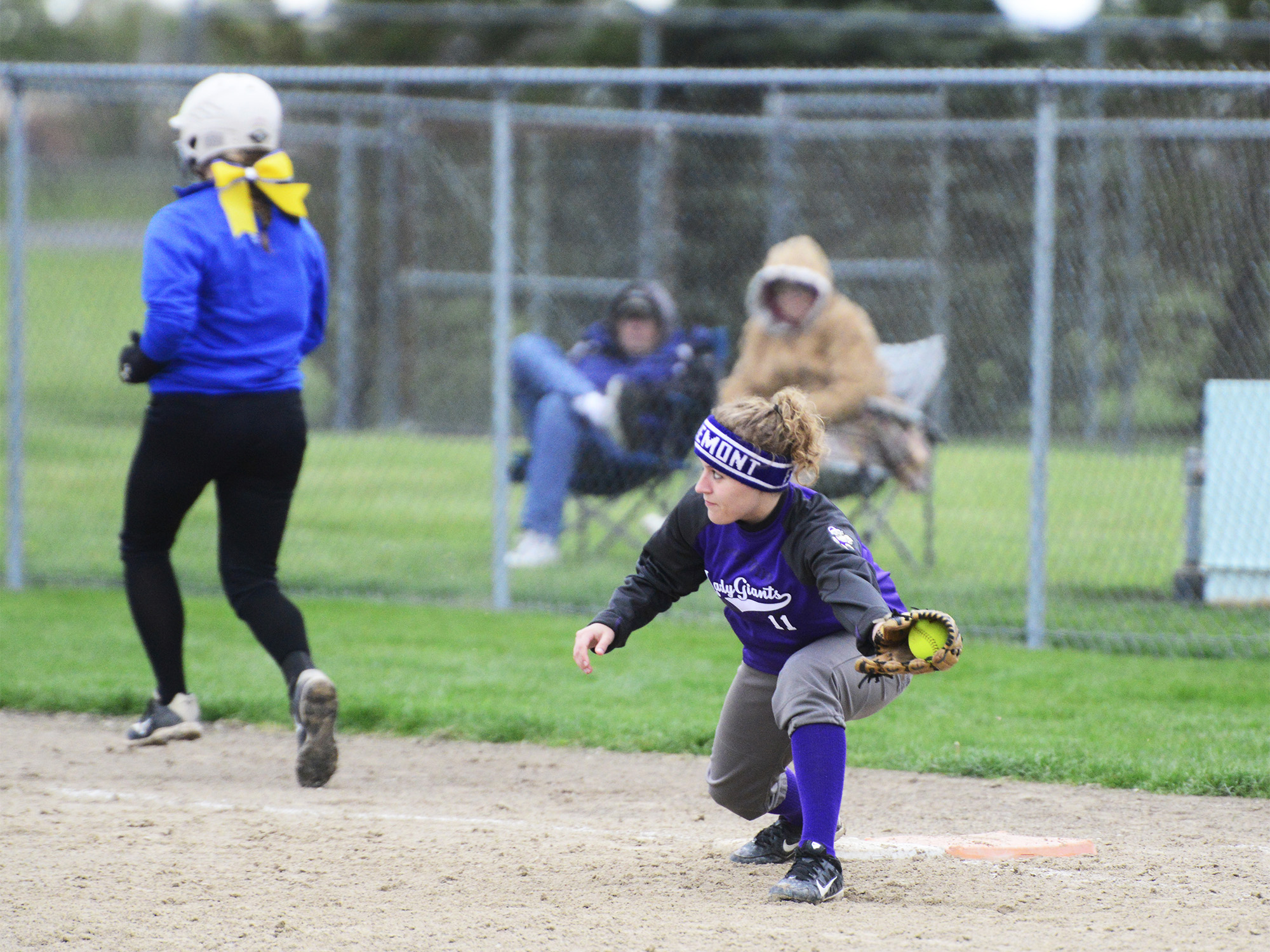 Ross' Kayla Foos fails to stop St. Ursula at first.
