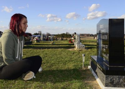 Brittany Hatfield, 23, of Clyde visits the grave of her ex-boyfriend, Bryce Williamson, who she loved deeply. He died of a heroin overdose in November 2014. He was 23 years old.
