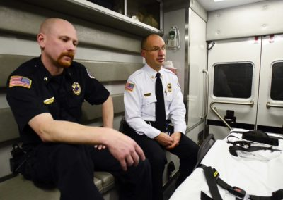 Sandusky EMS Captain John Marcson, left, and Sandusky County EMS Chief Jeffrey Jackson said recovering addicts, police and EMS officials all say there is often a reluctance to seek help — even when a person is turning blue from a life-threatening overdose — for fear of repercussions for the overdose victim and his or her friends and family.