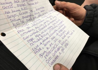 During a weekly appearance, recovering opiate addict Andrew Laubacher, 29, of Fremont holds a list of 50 triggers that tempt him to use drugs. He wrote the list as an assignment in drug court from Judge John Kolesar.