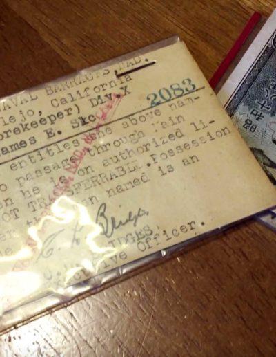 James Reardon's identification for the Mare Island Naval Shipyard next to Japanese money.