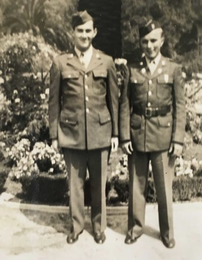 Mervin Rose was 20 years old when he drafted into WWII, and 22 years old when he was honorably discharged. He is pictured with his friend, Howard Kirian, and both lived in Fostoria at the time.