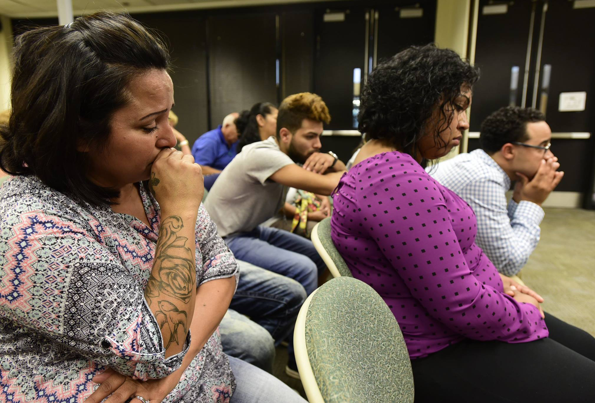 During the trial on Tuesday afternoon, grandmother Yolanda Traylor, from left, uncle Isaih Arriaga, mother Ashlie Arriaga and Talib Garret listen to a recording of the defendant Chantal Thoss describe the baby's injuries to Clyde police detective Brian Weaver. Thoss is charged with one count of felonious assault and one felony count of endangering a child in connection with injuries sustained by a 6-month-old she was baby-sitting in 2014. The baby suffered seizures, brain hemorrhaging and blurred vision because of bleeding behind the eyes, according to the grandmother, Yolanda Traylor