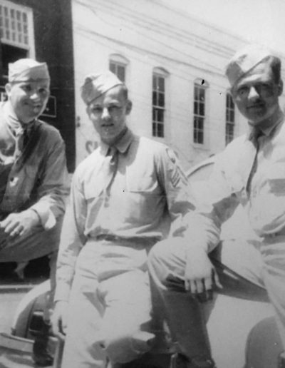 Robert Parman, middle, was 18 years old when he was drafted into WWII. He was 21 years old when he was discharged.