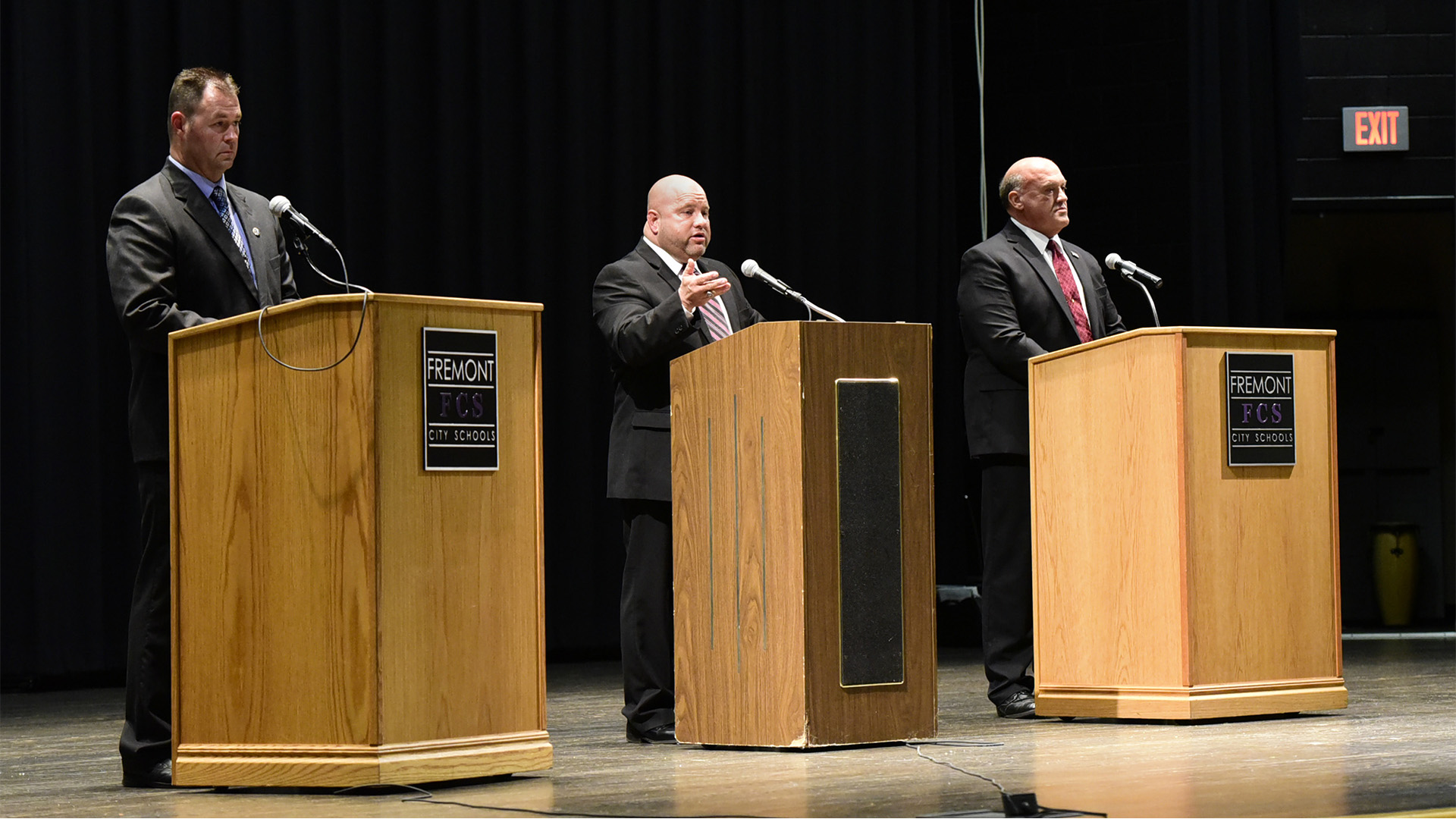 Sandusky County sheriff debate among independent challenger Chris Hilton, from left, incumbent Republican Sheriff Kyle Overmyer, and independent challenger James Consolo on Thursday night.