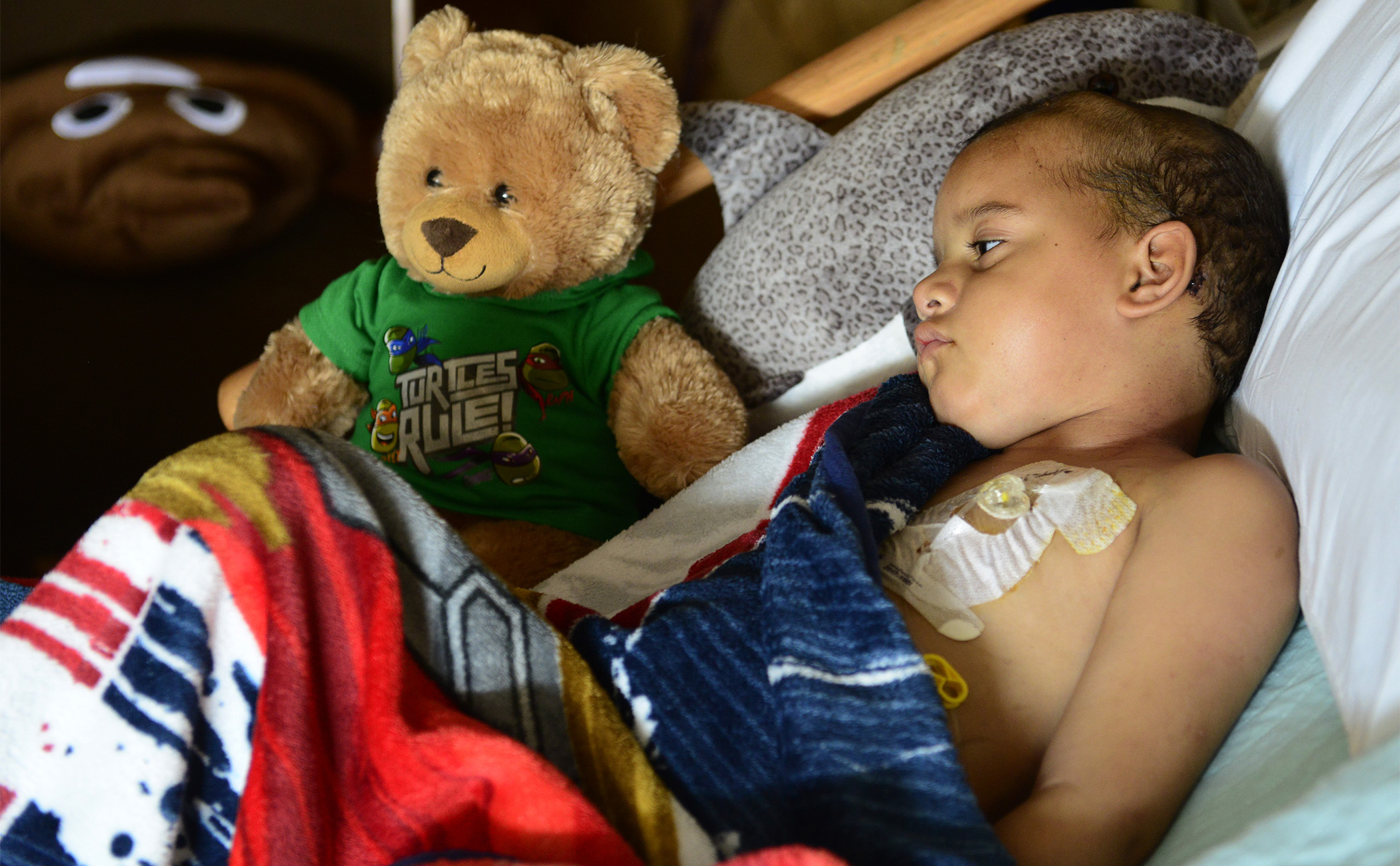 """Diontae """"Tae"""" Smith, 5, rests at a hospice center in Sandusky after spending 16 months in treatments, doctor visits, clinical trials and chemotherapy sessions at different children's hospitals in Cleveland, Philadelphia and Cincinnati. He had been treated for glioblastoma, an aggressive brain cancer with a low survival rate, generally considered incurable."""