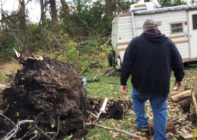 The National Weather Service determined an EF 1 tornado hit Townsend Township with winds as high as 100 miles per hour. The wind blew over several tall trees on the Weyer's property.