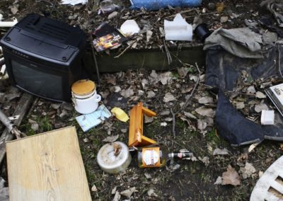 """Connie Weyer said her brother, who lives next door, has chased people off the property at night. She thinks the people intended to steal items from the yard. """"But, it's all broken,"""" she said. """"Everything that is out there is broken up now."""""""