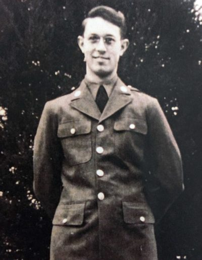 Walter Auxter in his early 20s, shortly after he was drafted, at home before left for basic training in Washington state.